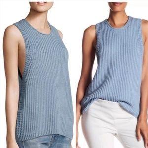 Vince Sleeveless Knit Sweater Cotton Blue Chunky